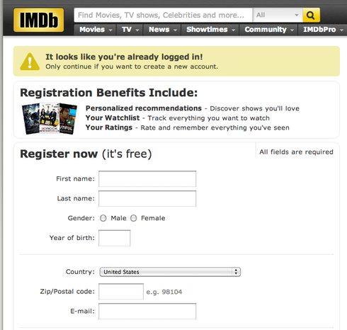 IMDb TV registration
