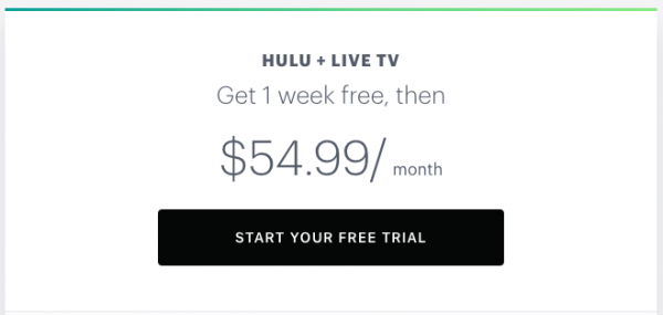 Hulu + Live TV offers a 1 week free trial