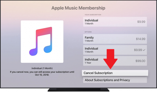 Cancel Apple Music on Apple TV in the settings.