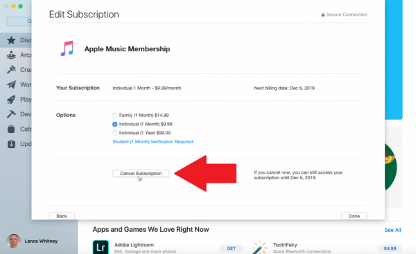 Final step to cancel Apple Music via App Store.