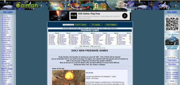 Caiman, a game download site also for old games.
