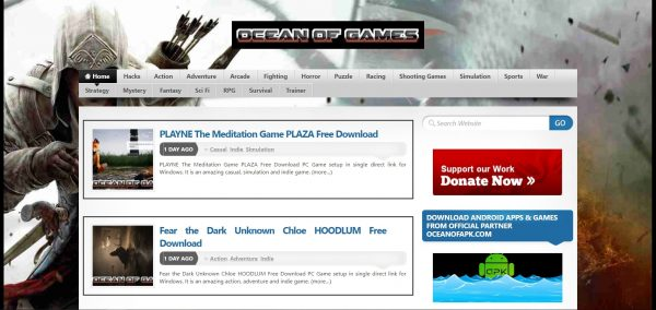 Ocean of Games, a game download site which has recent titles.