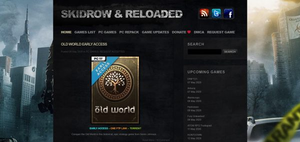 Skidrow&Reloaded, a game download site for PC games. It also has recent titles.