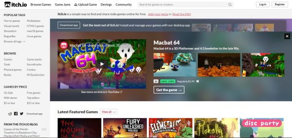 Itch.io, another game download site for indie games.