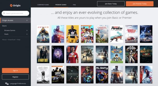 Origin, EA's digital storefront and also a game download site.
