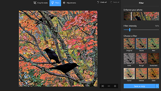 Windows 10 Photo Editor photo editing software