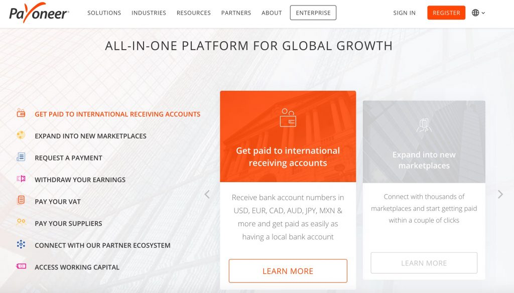 Payoneer money transfer platform