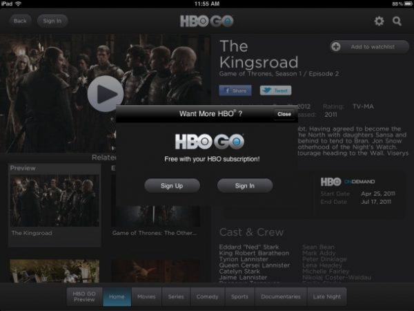 HBO Go User Interface
