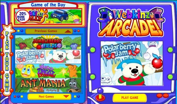 Webkinz User Interface
