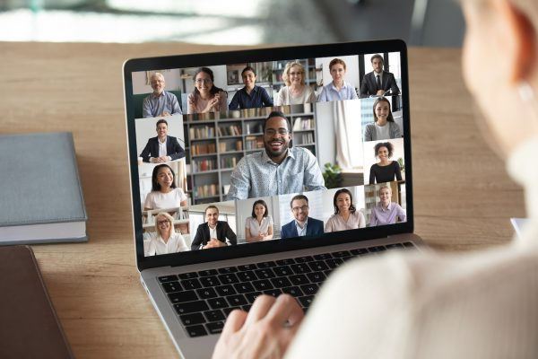 Multiple participants video conferencing on a laptop