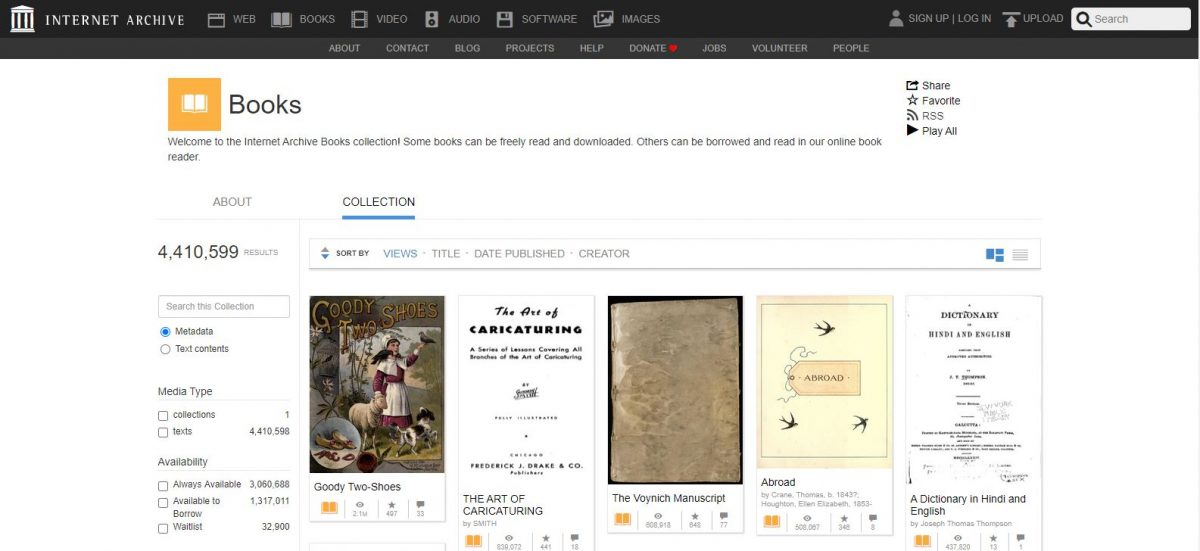 Internet Archive free kindle books