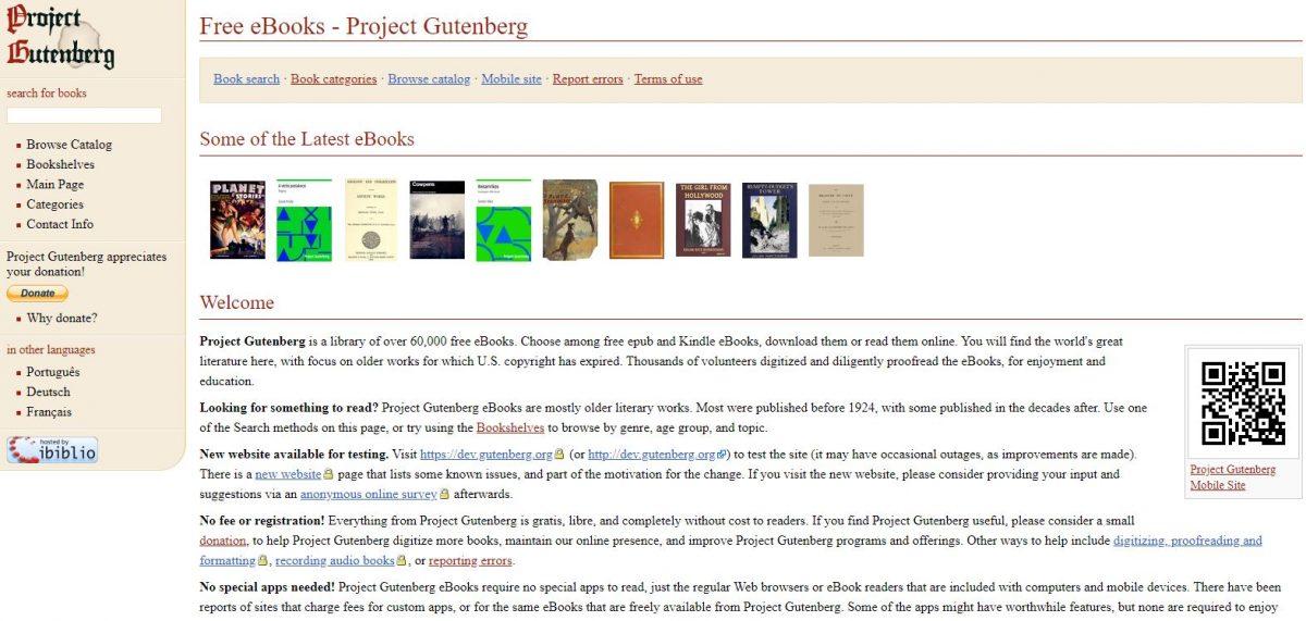 Project Gutenberg free kindle books