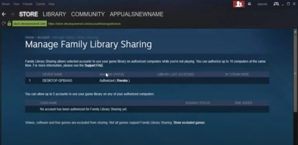 Sharing Games via Steam Family Sharing
