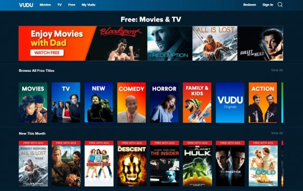Vudu Movies on Us free movie streaming sites