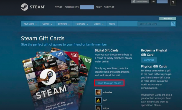 Gift Steam Wallet Funds Step 2