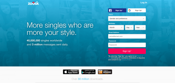 Zoosk sign up page