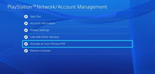 Activate as Your Primary PS4