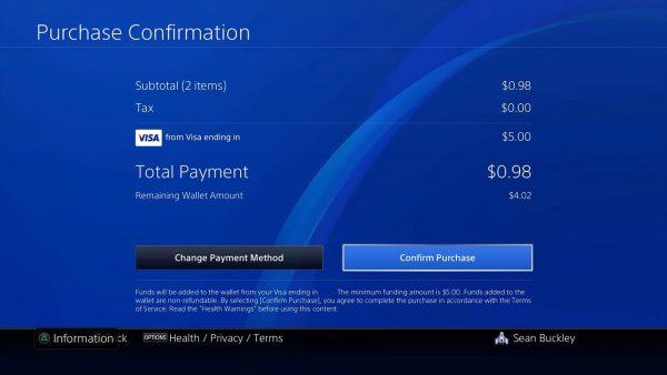 Credit Card PSN Wallet