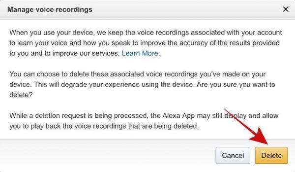 Delete Recordings through Amazon