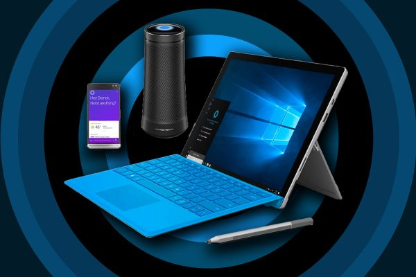 Cortana virtual assistant inside smartphone, Harman Kardon Invoke smart speaker, and Surface laptop