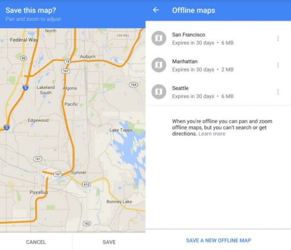 Google Maps can save multiple maps for 30 days