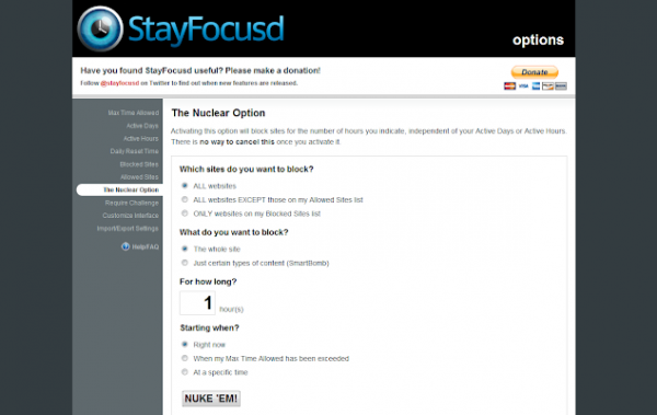 Extensiones StayFocusd Chrome