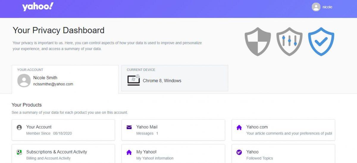 Yahoo Account Dashboard