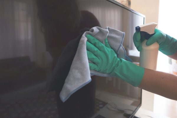 Cleaning Using Moistened Cloth With Water