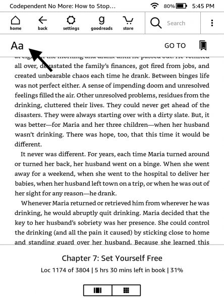 Adjust your Kindle's font settings