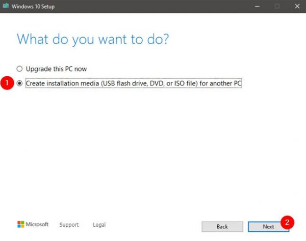 how to install windows 10 from USB using installation media