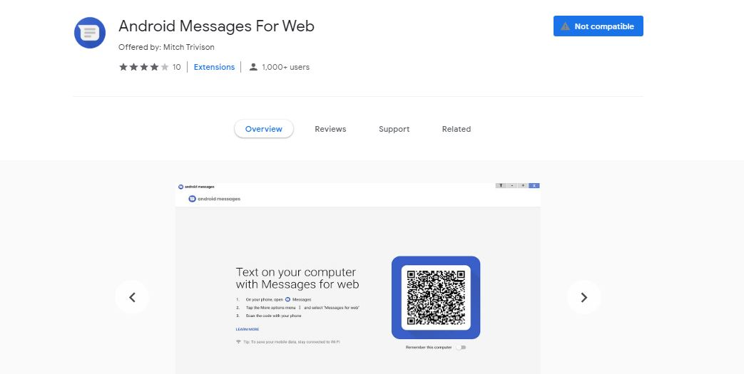 google messages for web chrome extension
