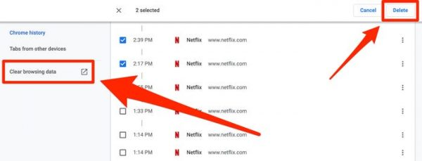 how to delete browsing history on web