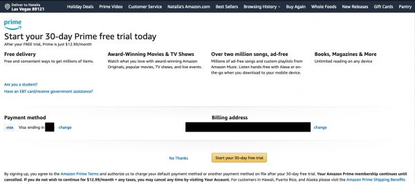 get 30 day free trial from amazon prime