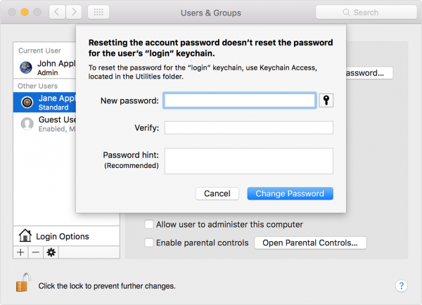 reset the Mac password using admin account