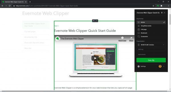 Evernote tutorial: clip web