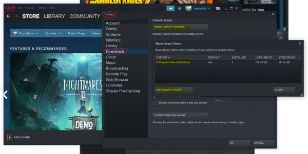 how to change steam install location