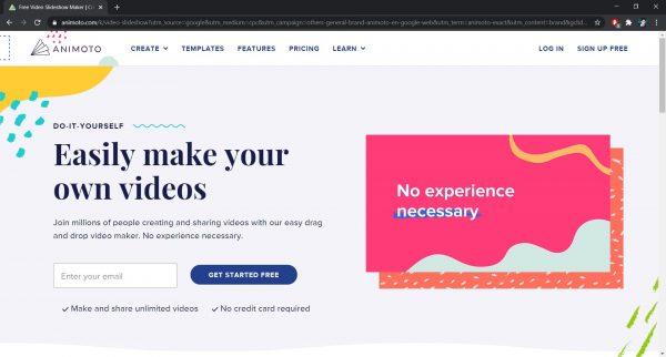 Animoto online video editor website