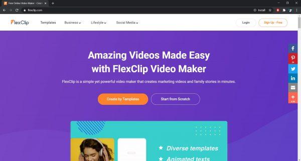 FlexClip online video editor website