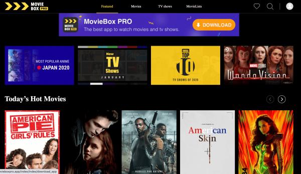 MovieBox Pro main interface screenshot, moviebox pro movies