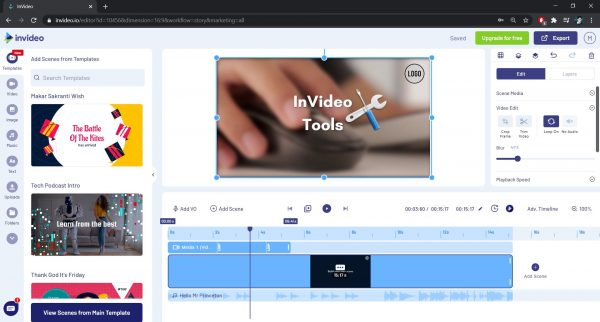 Blur video function in InVideo