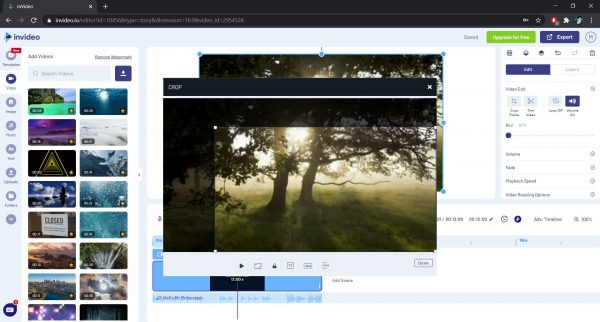 Crop frame option in InVideo