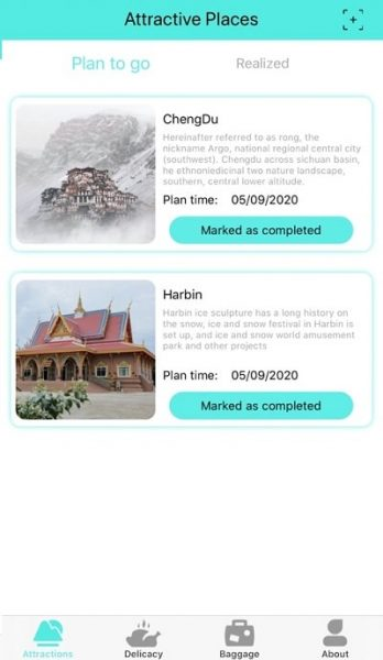 attractive places app interface