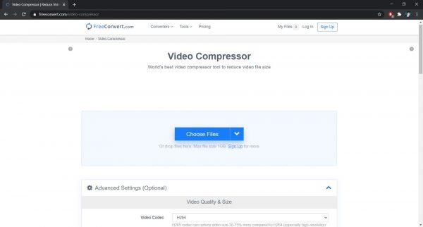 FreeConvert.com: A site to compress videos