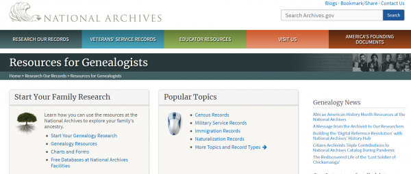 National Archives and Records Administration Genealogy Project
