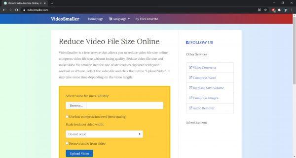 VideoSmaller: An online software to compress videos