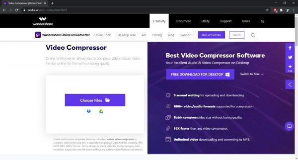 Wondershare Online Uniconverter Video Compressor