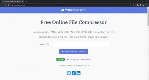 YouCompress: Best site to compress videos