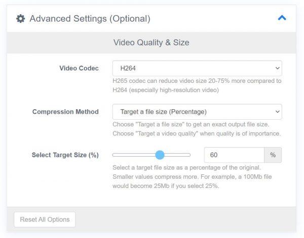 Advanced setting customization in FreeConvert.com