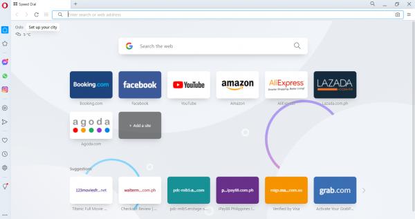 Opera Web Browser Interface