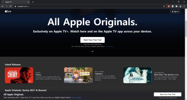 Apple TV Plus website